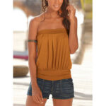 New              Solid Color Pleated Strapless Sleeveless Summer Camis For Women