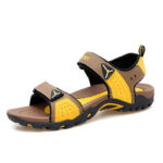 New              Men Leather Hook&Loop Opened Toe Slip Resistant Hiking Sandals