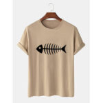 New              100% Cotton Funny Cartoon Fish Bones Print Casual Short Sleeve T-Shirts