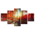 New              5Pcs Wall Decorative Paintings Scenery Canvas Print Art Pictures Frameless Wall Hanging Decorations for Home Office