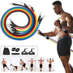 New              11 Pcs Fitness Resistance Bands Set Gym Workout Pull Rope Exercise Elastic Band Max Load 100lb