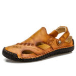 New              Men Hand Stitching Soft Non Slip Outdoor Closed Toe Leather Sandals