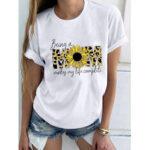 New              Flower Leopard Letter Print Short Sleeve O-neck T-shirts For Women