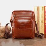 New              Men Genuine Leather Multi-function Retro Wear-resisant Large Capacity Handbag Shoulder Bag Cross Body Bag