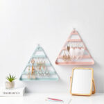 New              Earrings Ring Bracelet Jewelry Organizer Display Hanger Solid Color Triangle Jewelry Display Stand