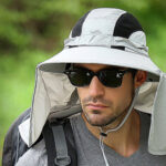 New              Men Windproof Outdoor Fishing Hat UV Protection Broad Brim Visor Nylon Detachable Bucket Hat With Adjustable String