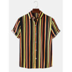 New              Mens Colorful Vertical Stripes Short Sleeve Lapel Collar Casual Shirts