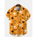 New              Banggood Design 3 Color Halloween Cartoon Print Turn Down Collar Short Shirts