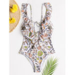 New              Women Design Floral Print String Ruffles Straps One Piece Backless Swimwear