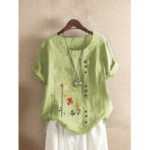 New              Flower Print Buttons Short Sleeve O-neck Casual T-shirts For Women