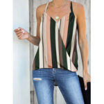 New              Green Striped Sleeveless V-neck Front Cross Design Halter Tank Top
