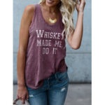 New              Casual Letter Print Round Neck Sleeveless Basic Tank Top