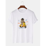 New              Cute Astronaut Print Breathable Short Sleeve 100% Cotton T-Shirts