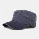 New              Men Polyester Casual Solid Color Adjustable Military Hat Outdoor Short Brim Visor Comfortable Perspiration Flat Hat
