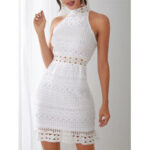 New              White Lace Hollow Out Design High Neck Off Shoulder Sleeveless Dress