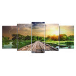 New              5 Pcs Wall Decorative Painting Landscape Canvas Art Pictures Frameless Wall Hanging Decorations for Home Office