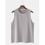 New              Breathable Cotton Solid Color Casual Round Neck Sleeveless Tank Tops