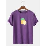 New              Mens Cotton Lemon Print Solid Color Loose Light O-Neck T-Shirts