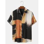 New              Mens Casual Cotton Ink Splash Print Color BLock Breathable Short Sleeve Shirts