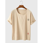 New              Mens 100% Cotton Abstract Sun Embroidered Simple Short Sleeve Casual T-Shirts