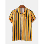New              Banggood Special Offers Striped Revere Collar Short Sleeve Shirts