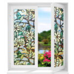 New              3D Mongolia Flower Glass Door Window Film Print Sticker Static UV Block