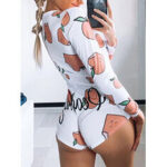 New              Fruit Vegetable Print Front Button V Neck Long Sleeves Casual Playsuits