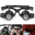New              LED Light Magnifier Loupe Glasses 10X 20X 25X 15X Binocular Lens Magnify Repair