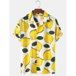 New              Mens Lemon Printed Cotton Breathable Casual Short Sleeve Shirts