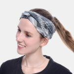 New              Women Lattice Leaf Printing Outdoor Sport Headdress Elastic Cross Tie Hair Band Headband