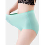 New              Plus Size Seamless Plain High Waisted Full Hip Smooth Panty