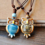 New              Vintage Geometric Rhinestones Owl Pendant Drawstring Necklace Ethnic Handmade Ceramic Adjustable Long Necklace