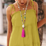 New              Bohemian Mixed Color Handmade Beaded Necklace Geometric Heart Tassel Pendant Necklace
