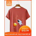 New              Cotton Breathable Cartoon Cute Astronaut Back Pattern Short Sleeve Loose T-Shirts
