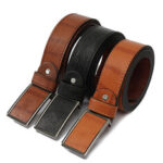 New              120cm Leather Tactical Belt Automatic Button Men's Waistband Casual Waist Strap