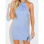 New              Women Solid Color Halter Bodycon Sleeveless Mini Dress