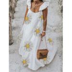 New              Daisy Print Ruffled Shoulder Strap Holiday Loose A-line Maxi Dress