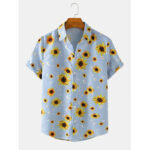 New              Mens Stripe Splice Floral Print Funny Short Sleeve Lapel Collar Shirts