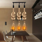 New              E27 Three Heads Industrial Pendant Lamp Holder Retro Vintage Edison Hemp Rope Ceiling Light AC110-220V