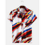 New              Mens Multi-Color Print Casual Revere Collar Short Sleeve Shirts With Pocket