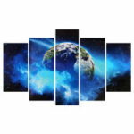 New              5Pcs Frameless Huge Wall Art Oil Painting Pictures Print Blue Planet Canvas Painting Home Office Living Room Decor