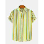 New              Mens Vertical Stripes Holiday Style Lapel Collar Short Sleeve Shirts