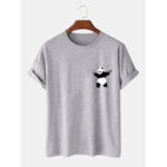 New              Cartoon Panda Print 100% Cotton Casual Short Sleeve T-Shirts