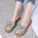 New              Women Solid Color Bow Decor Flats Chic Sandals