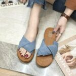 New              Womens Suede Casual Solid Color Comfortable Bottom Outdoor Slide Sandals