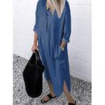 New              Women Daily Casual Denim Loose Long Shirts Dress