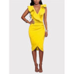 New              Yellow V-neck Irregular Hem Crossed Front Design Ruffle Midi Dress