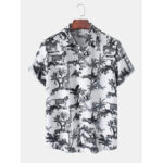 New              Mens Multipile Animal Print Lapel Collar Short Sleeve Casual Shirts