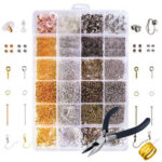 New              DIY 24 Grids Jewelry Making Starter Kit Earring Hooks Pins Pliers Craft Supply