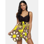 New              Plus Size Women Ethnic Style Print Cover Belly Bowknot Swimdress With BoyShorts